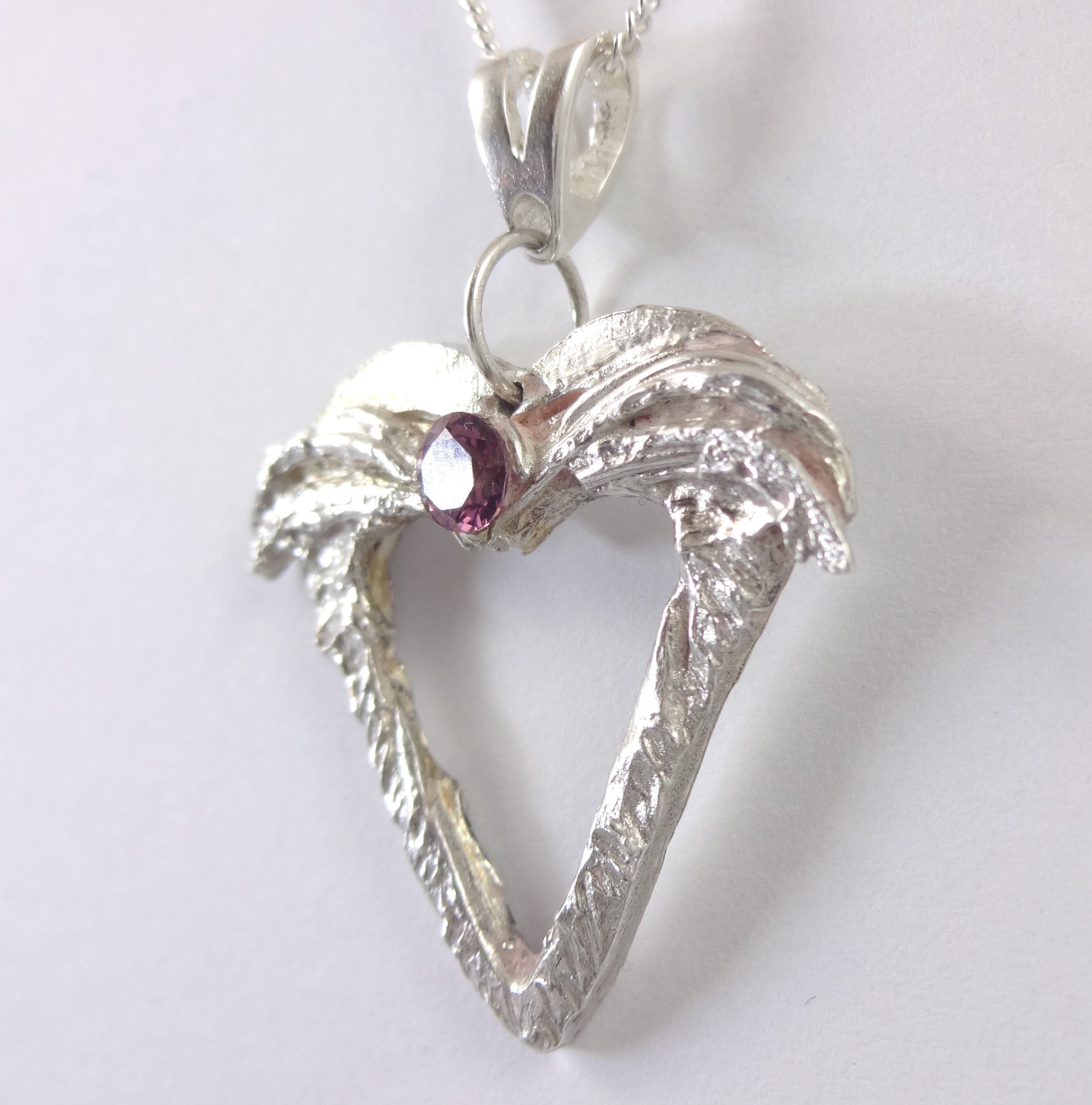 Angel heart pendant with large amethyst silver mist design 1011 2 angel heart with feathered wings pure silver pendant with amethyst from silvermistdesign aloadofball Image collections
