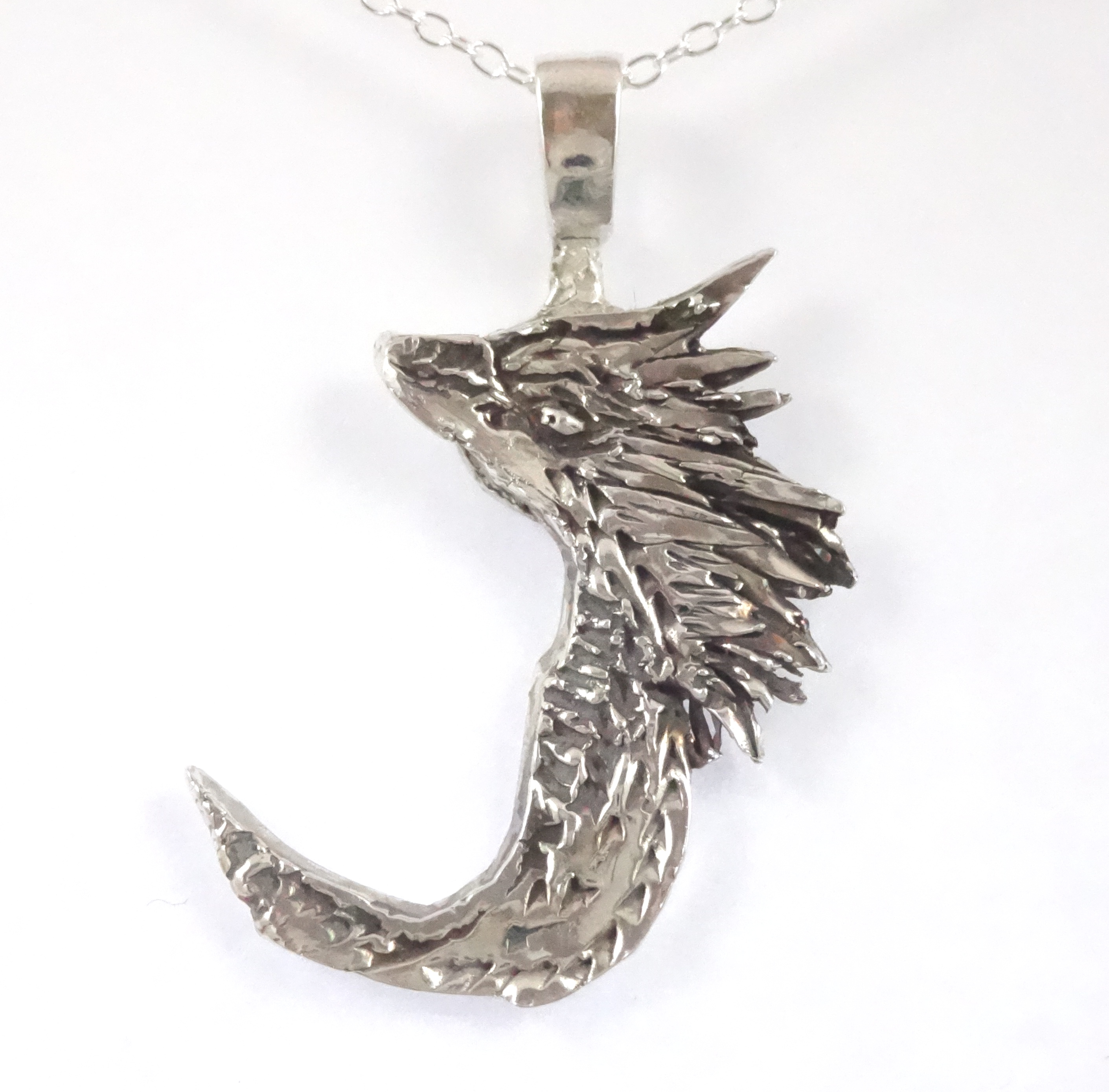 head jewelry silver jerezwine wolf necklace pendant howling